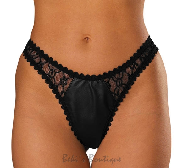 Leather & Lace Thong  AL-3-160