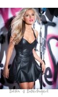 Faux Leather Flirty Dress  AL-17-9502