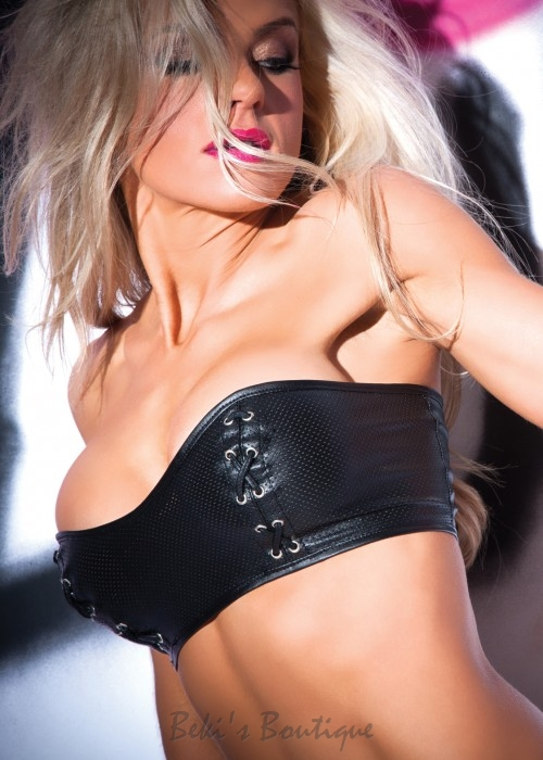 Faux Leather Tempt & Tease Bustier  AL-5-7402