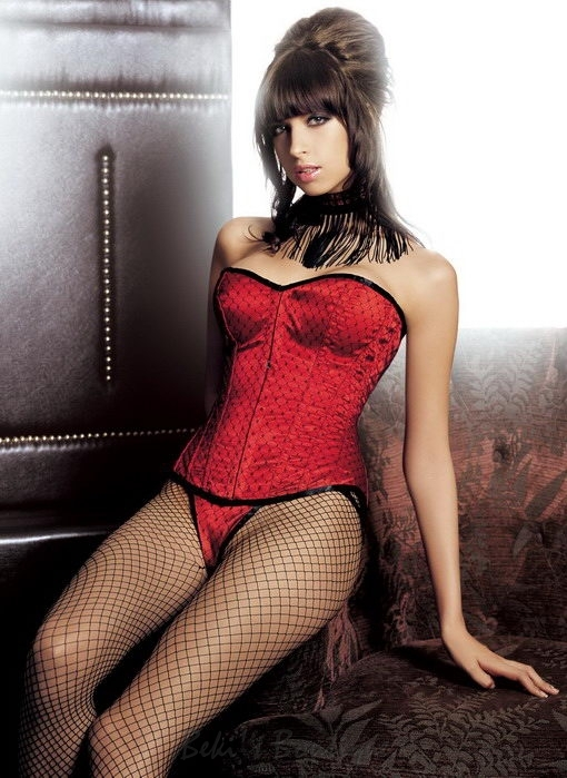 Satin Polka Dot Fishnet Corset  SM-80462