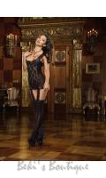 Sheer & Lace Garter Dress  DG-0144